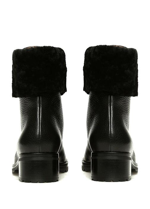 Cortina Siyah Peluş Detaylı Kadın Deri Bot