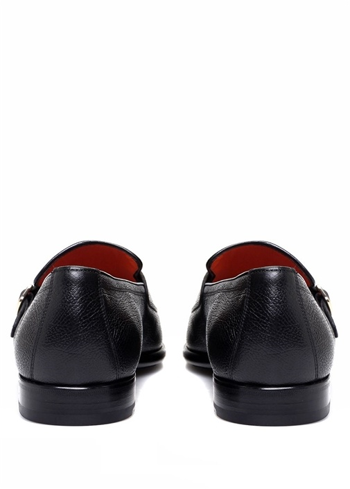 Siyah Dokulu Çift Kemerli Erkek Deri Loafer