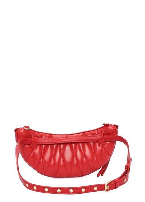 Matelasse Kırmızı Drapeli Logolu Kadın Deri Çanta