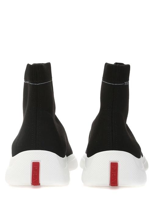 Siyah Beyaz Logolu Çorap Formlu Erkek Sneaker