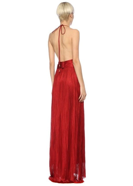 Katelyn Kırmızı Halter Yaka Maxi İpek Abiye Elbise