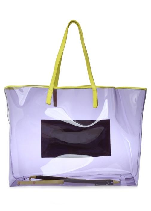 Lila Logolu Kadın Trasnparan Alışveriş Çantası