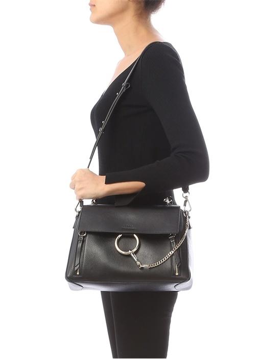 Faye Medium Siyah Körüklü Kadın Deri Çanta
