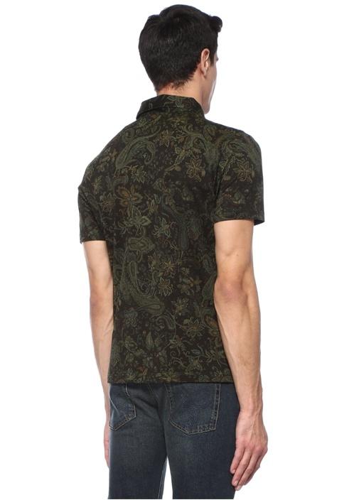 Siyah Polo Yaka Etnik Desenli T-shirt
