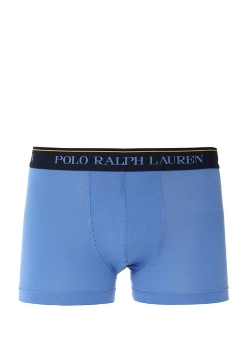 Mavi Beyaz 3lü Logolu Boxer Seti
