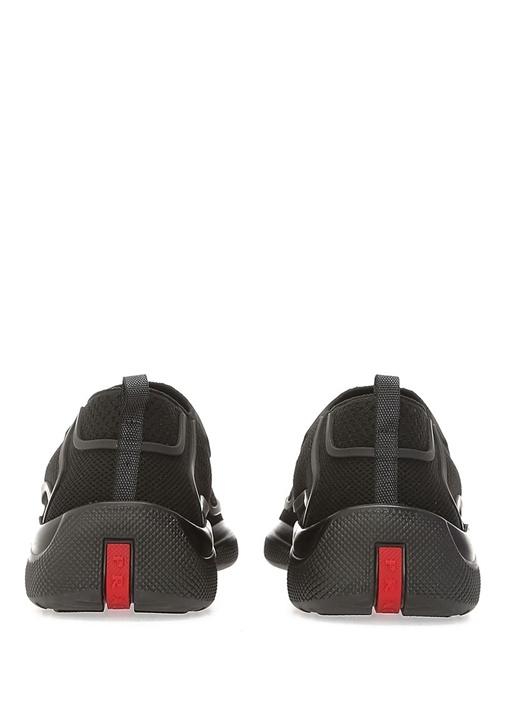 Siyah Logo Şeritli Bağcıksız Kadın Sneaker