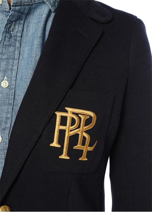 Slim Fit Knit Cotton Logo Nakışlı Blazer Ceket