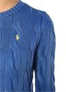 Mavi Bisiklet Yaka Logolu Saç Örgü Kazak