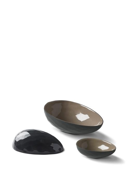 Siyah Taş Yumurta El Yapımı Orta Boy Porselen Kase