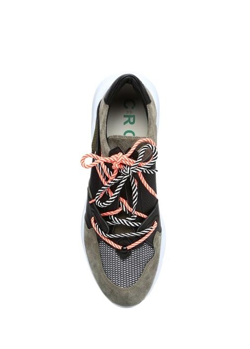Haki Siyah File Dokulu Erkek Süet Sneaker