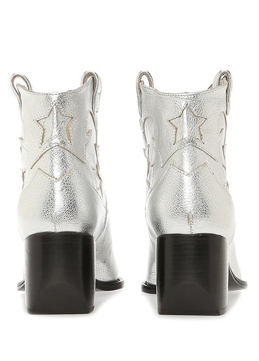Silver Dekoratif Dikiş Detaylı Kadın Deri Bot