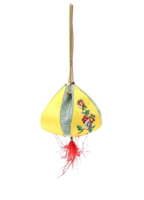 Cindy Sarı Çiçek Nakışlı Kadın Büzgülü Çanta