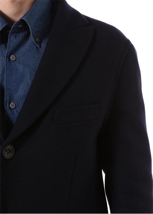 Lacivert Yün Slim Fit 8 Drop Palto