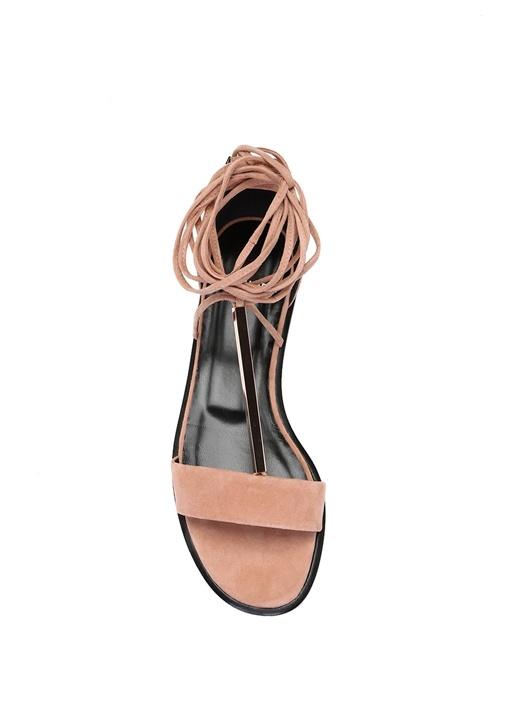 Pembe Bağlamalı Kadın Nubuk Sandalet
