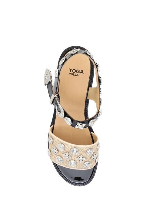 Bej Siyah Dolgu Topuk Kadın Sandalet