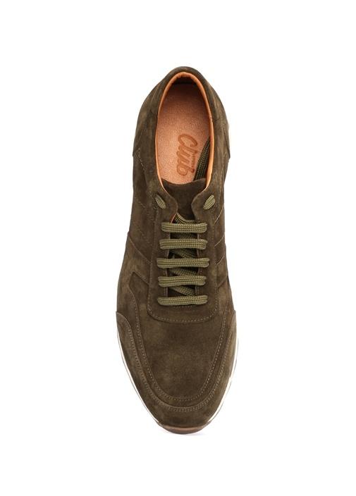 Haki Bağcıklı Süet Erkek Sneaker