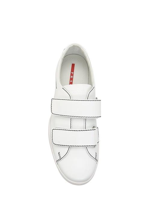 Beyaz Bantlı Deri Erkek Sneaker
