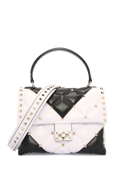 Valentino Garavani Siyah Beyaz Kadın Deri Çanta