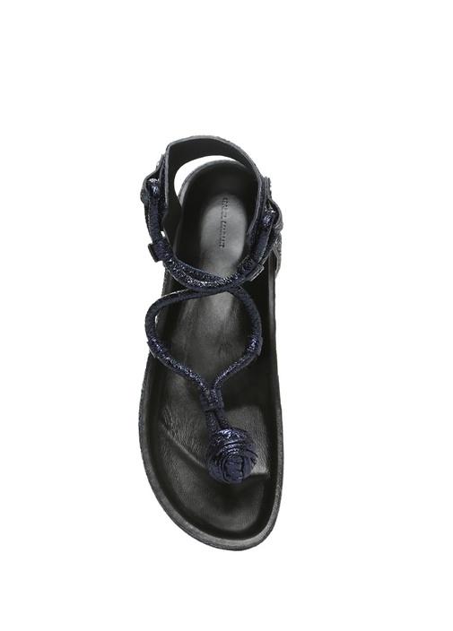 Either Lacivert Kadın Deri Sandalet