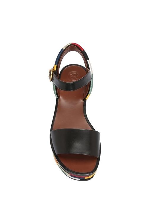 Siyah Renk Detaylı Kadın Deri Sandalet