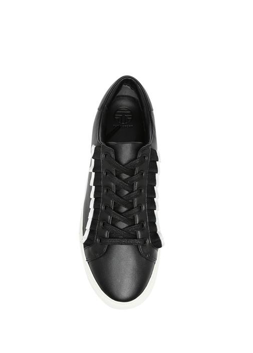 Ruffle Beyaz Fırfırlı Siyah Deri Kadın Sneaker