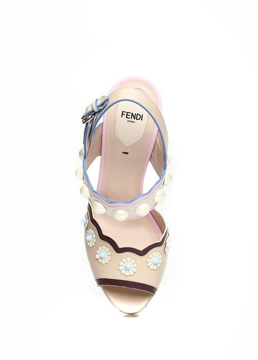 Pudra Kıvrım Bantlı İncili Kadın Deri Sandalet