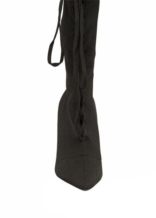 Siyah Bağcıklı Çorap Formlu Kadın Kanvas Bot