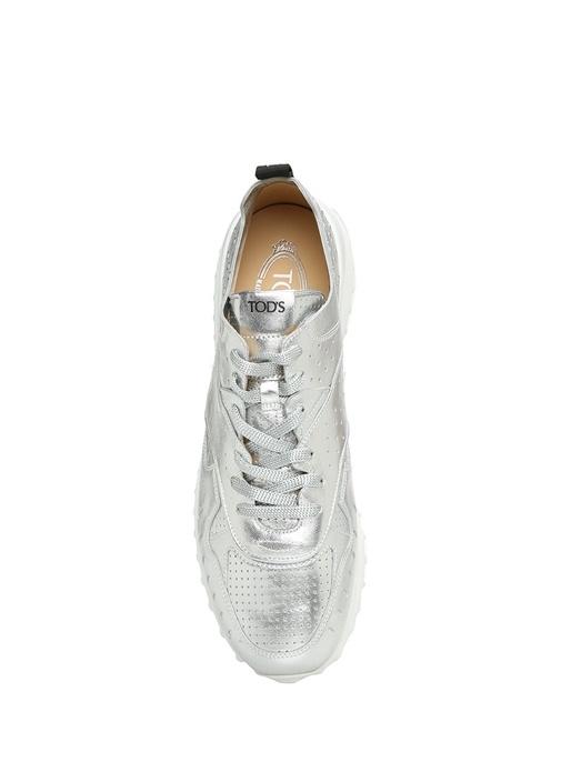Beyaz Tabanlı Gri Deri Kadın Sneaker