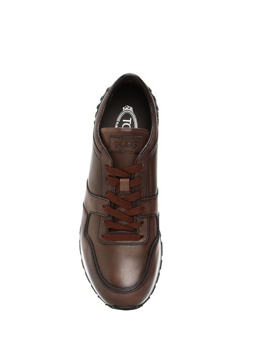 Zımbalı Kahverengi Deri Erkek Sneaker