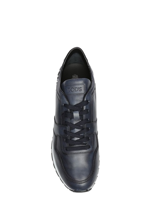 Zımbalı Lacivert Deri Erkek Sneaker