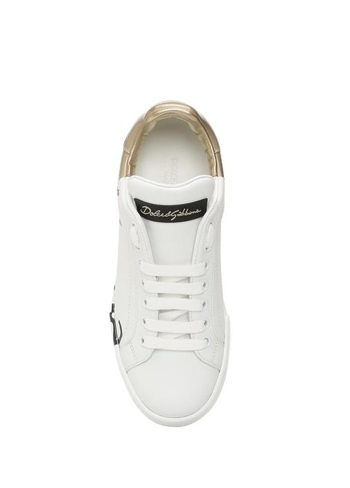 Portofino Beyaz Pembe Logolu Kadın DeriSneaker
