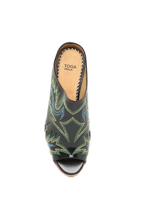 Siyah Gizli Platform Topuklu Kadın Sandalet