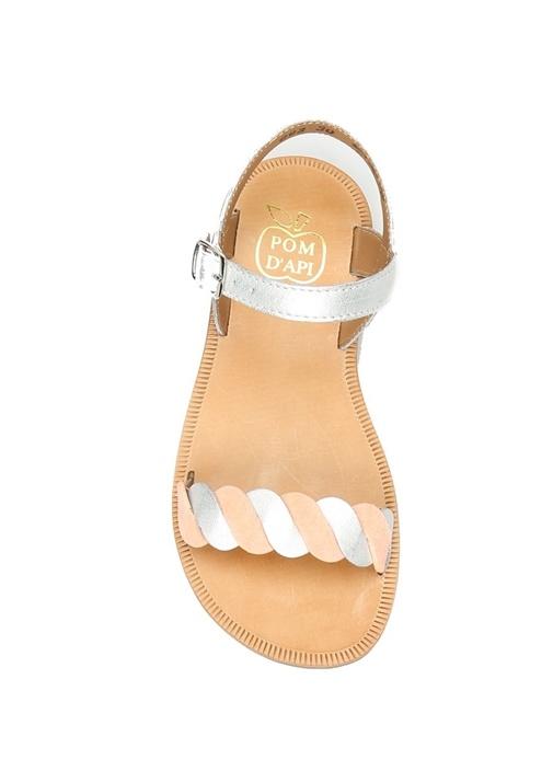 Gri Pembe Kıvrımlı Bantlı Kız Çocuk Deri Sandalet