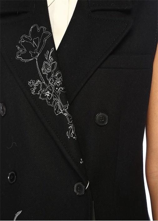 Siyah Çiçek Nakışlı Kruvaze Yün Yelek