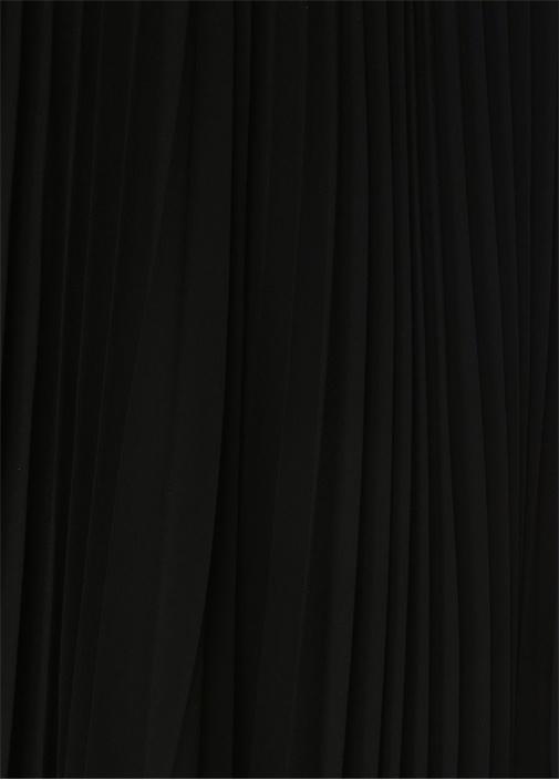 Siyah Piliseli Dantel Detaylı AsimetrikKesim Etek