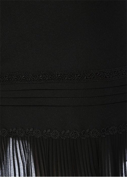 Siyah Normal Bel Dantel Garnili Mini Etek