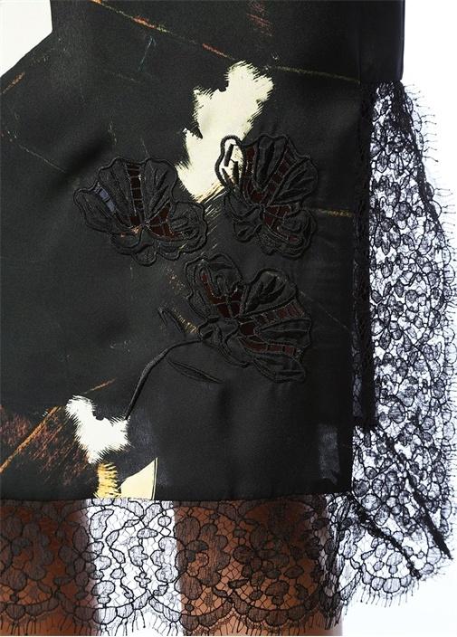 Siyah Fırça Desenli Dantel Garnili Midiİpek Etek