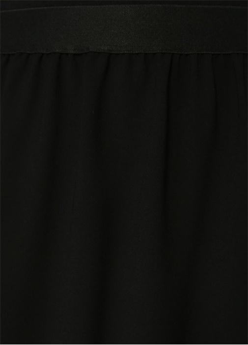 Siyah Dantel Detaylı Asimetrik Midi Krep Etek
