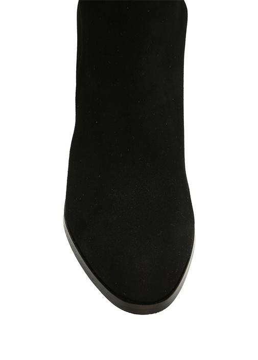 Siyah Kumaş Detaylı Kadın Deri Çizme