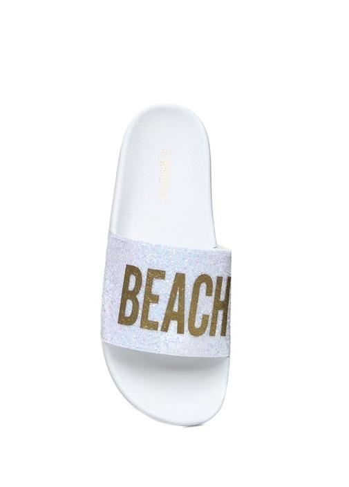Glitter Beach Please Baskılı Beyaz Kadın Terlik