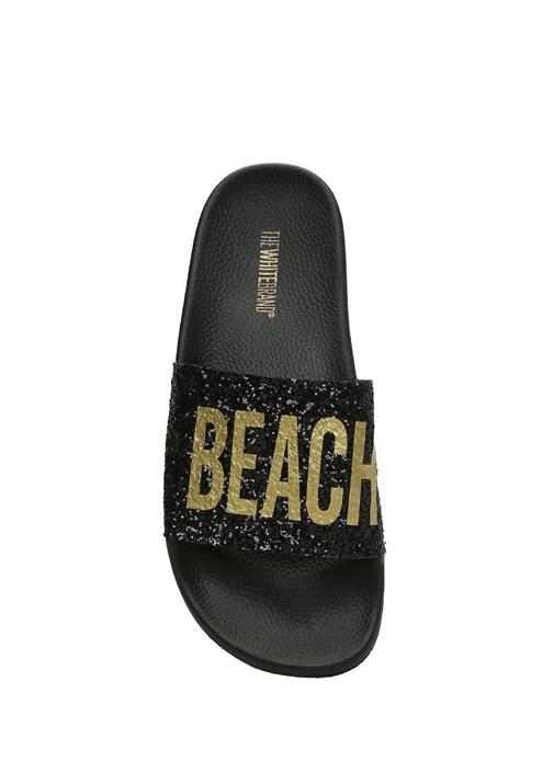 Glitter Beach Baskılı Siyah Kadın Terlik