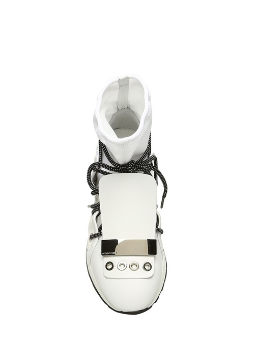 Beyaz Çorap Formlu Troklu Kadın Deri Sneaker