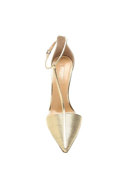 Ritz 105 Gold Drapeli Deri Topuklu Ayakkabı