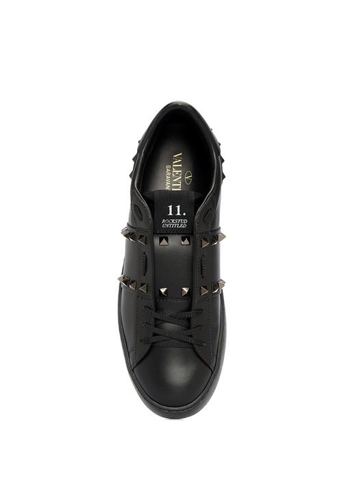 Rockstud Open Siyah Kadın Deri Sneaker