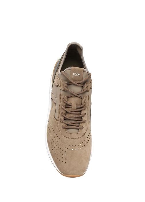 Vizon Delik Detaylı Erkek Nubuk Sneaker