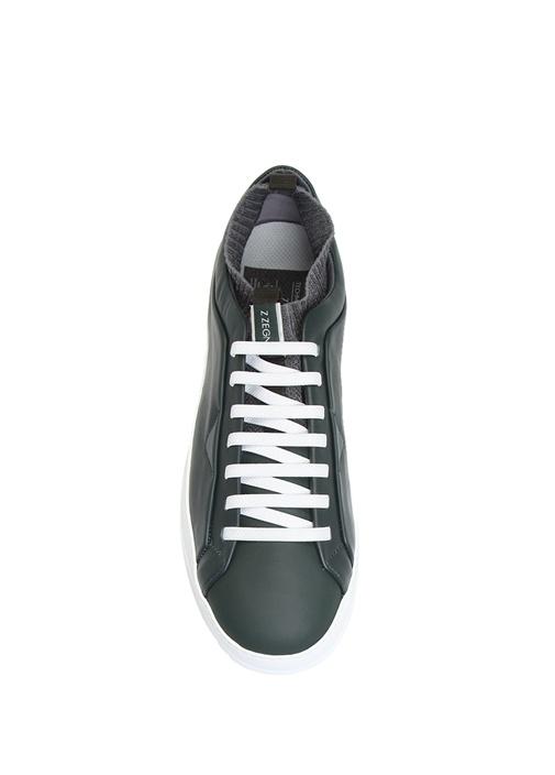 Antrasit Çorap Formlu Detaylı Erkek Deri Sneaker