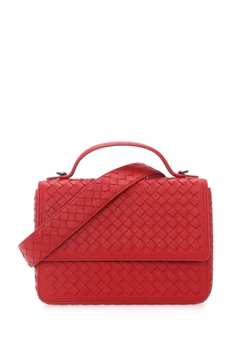 Kırmızı Örgü Dokulu Kadın Deri Çanta