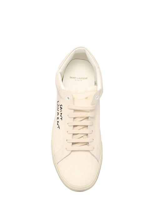 Beyaz Logo Nakışlı Erkek Kanvas Sneaker