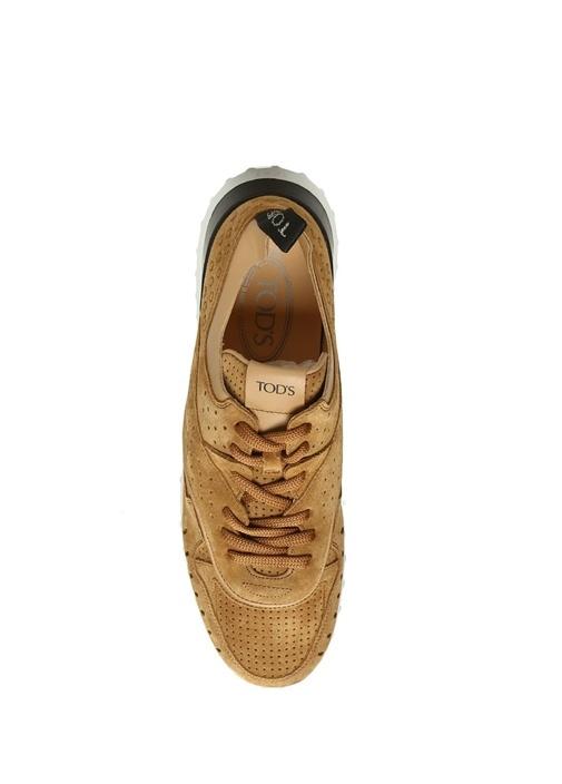 Kamel Delik Desenli Kadın Süet Sneaker