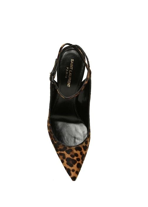 Zoe Leopar Desenli Deri Topuklu Ayakkabı